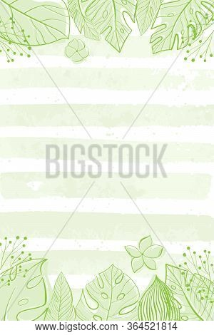 Tropical Leaves Background. Palm, Fan Palm, Monstera, Banana Leaves In Line Style. Sketches Of Tropi