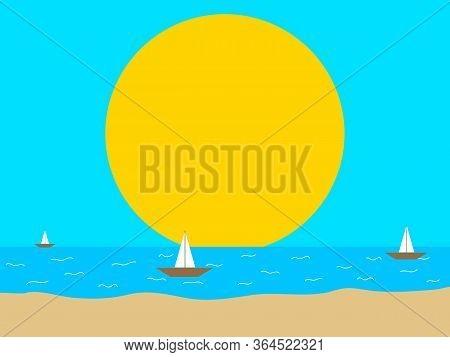 Minimalistic Abstract Hand Drawn Sea And Beach Scene With Sand Sea Boats And Big Yellow Sun