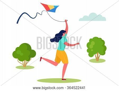 Active Sports People Vector Illustration. Cartoon Flat Woman Character Running, Have Fun With Flying