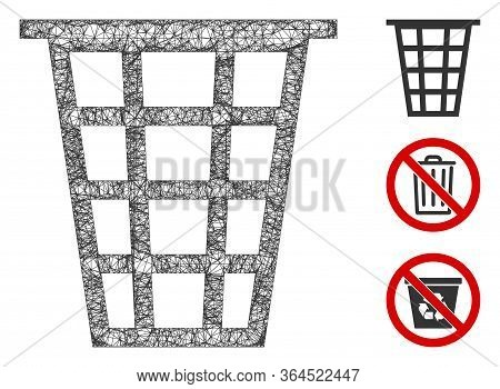Mesh Junk Polygonal Web 2d Vector Illustration. Carcass Model Is Based On Junk Flat Icon. Triangle N
