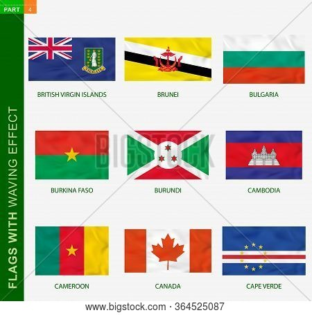 Set Of Flag With Waving Effect, National Flag With Texture. Vector Flag Of British Virgin Islands, B