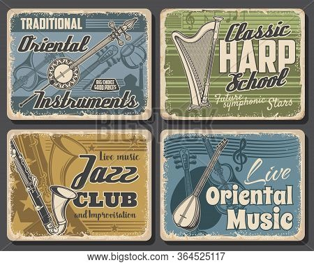 Music Instruments Retro Posters, Jazz Festival And Saxophone Band Live Concert, Vector. Orchestra An