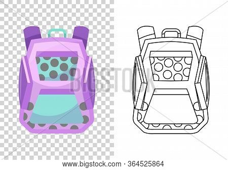 Education And Study, School Backpack Icon. Extravagant Student Satchel. Colorful Backpack Of Pupil.