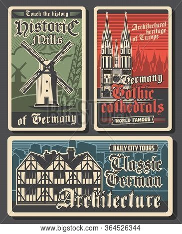 Germany Travel Retro Posters, German Landmarks And Berlin City Buildings, Culture And Tourism, Vecto