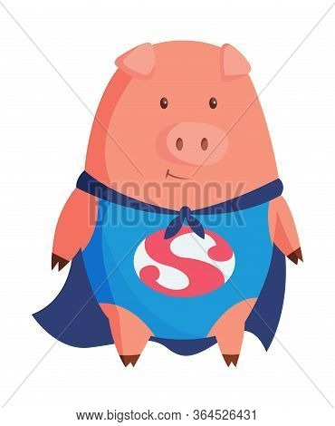 Cartoon Pig In Superman Clothing. Illustration For Funny Kids Game. T-shirt Vector Logo Design