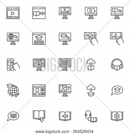 E-learning Line Icons Set. Online Education Linear Style Symbols Collection, Outline Signs Pack. Vec