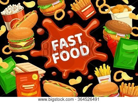 Fast Food Burgers Menu, Hamburgers, Snacks And Drinks, Vector Sandwiches. Fastfood Meals Cheeseburge