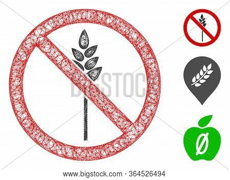 Mesh No Wheat Polygonal Web Icon Vector Illustration. Carcass Model Is Based On No Wheat Flat Icon.
