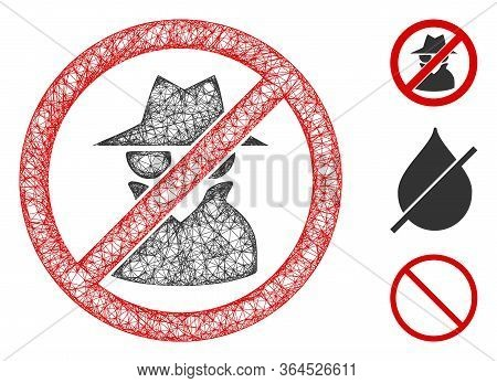 Mesh No Spy Polygonal Web Icon Vector Illustration. Model Is Created From No Spy Flat Icon. Triangul