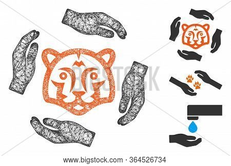 Mesh Save Tigers Polygonal Web 2d Vector Illustration. Model Is Based On Save Tigers Flat Icon. Tria