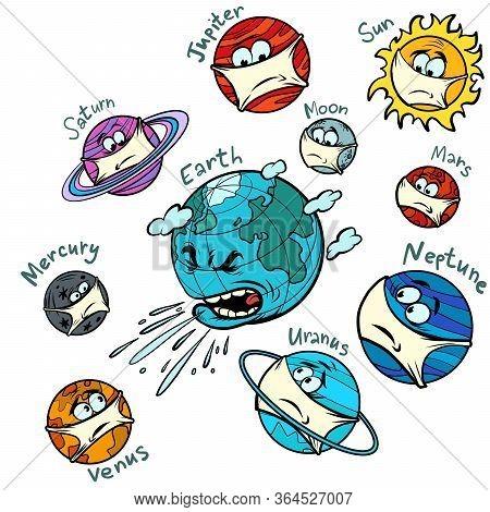 Planet Earth Is Sick. The Epidemic Of Influenza Pandemic Coronavirus. Comics Caricature Pop Art Retr