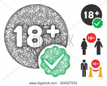 Mesh Adults Only Polygonal Web 2d Vector Illustration. Model Is Based On Adults Only Flat Icon. Tria