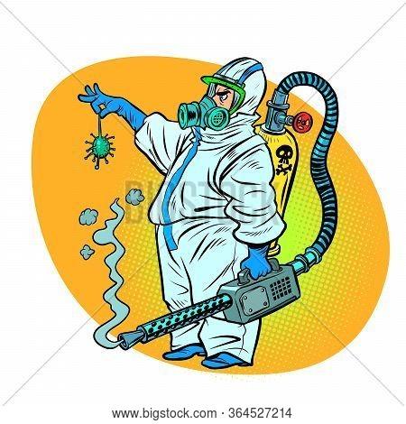 The Exterminator Killed The Coronavirus. Comics Caricature Pop Art Retro Illustration Drawing