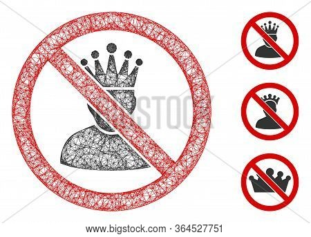 Mesh No King Polygonal Web Icon Vector Illustration. Carcass Model Is Based On No King Flat Icon. Tr