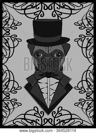 Cute Black And White Illustration With A Pug In Old-fashioned Tuxedo And Cylinder In Ornate Frame