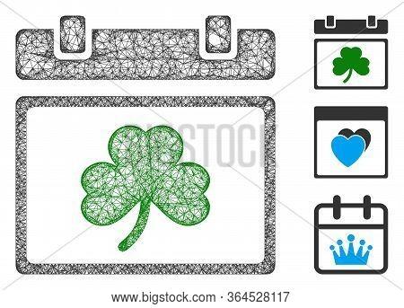 Mesh Saint Patrick Calendar Day Polygonal Web Icon Vector Illustration. Model Is Based On Saint Patr