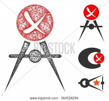 Mesh Quality Control Failed Polygonal Web Icon Vector Illustration. Model Is Created From Quality Co