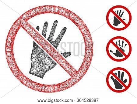 Mesh Do Not Touch Polygonal Web Icon Vector Illustration. Carcass Model Is Based On Do Not Touch Fla