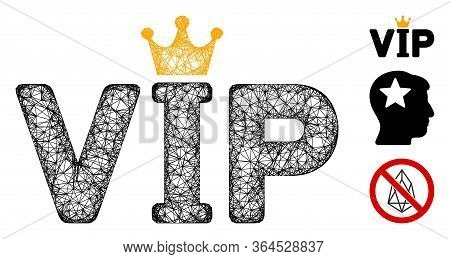 Mesh Vip Polygonal Web Icon Vector Illustration. Carcass Model Is Based On Vip Flat Icon. Triangular