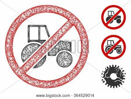Mesh No Wheel Tractor Polygonal Web 2d Vector Illustration. Carcass Model Is Created From No Wheel T