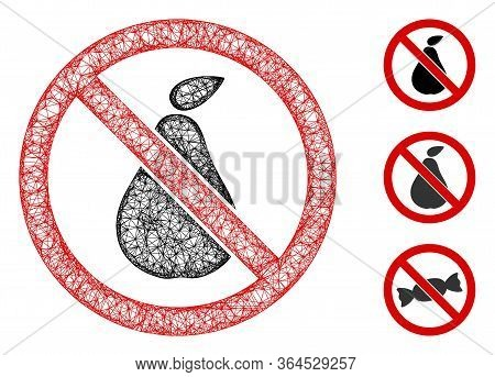 Mesh No Pear Polygonal Web Icon Vector Illustration. Carcass Model Is Based On No Pear Flat Icon. Tr