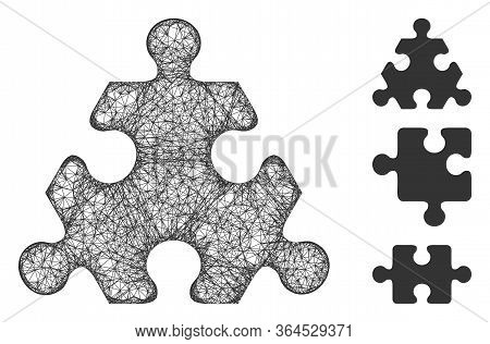 Mesh Hex Puzzle Item Polygonal Web Icon Vector Illustration. Model Is Based On Hex Puzzle Item Flat