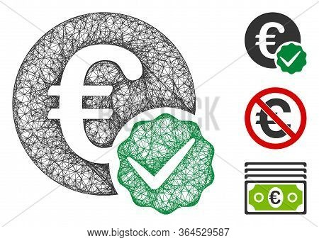 Mesh Euro Only Polygonal Web Icon Vector Illustration. Carcass Model Is Based On Euro Only Flat Icon