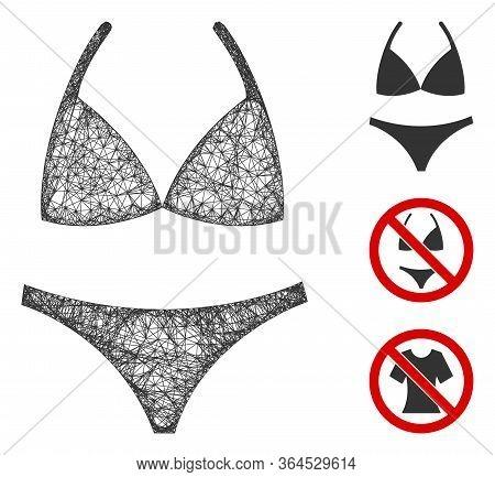 Mesh Bikini Polygonal Web Icon Vector Illustration. Model Is Based On Bikini Flat Icon. Triangular N