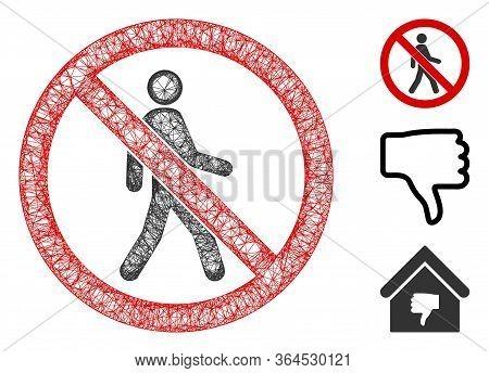 Mesh No Trespassing Polygonal Web 2d Vector Illustration. Carcass Model Is Based On No Trespassing F