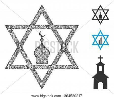 Mesh Zion Polygonal Web Icon Vector Illustration. Model Is Based On Zion Flat Icon. Triangular Mesh