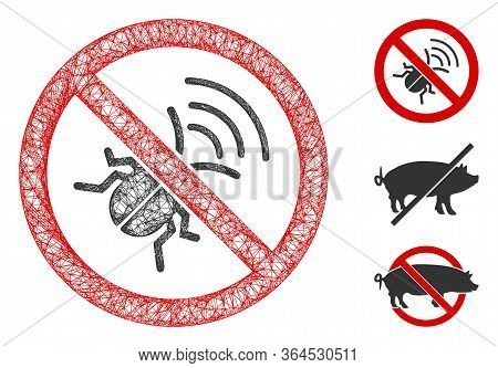 Mesh No Spy Bug Polygonal Web Icon Vector Illustration. Carcass Model Is Created From No Spy Bug Fla