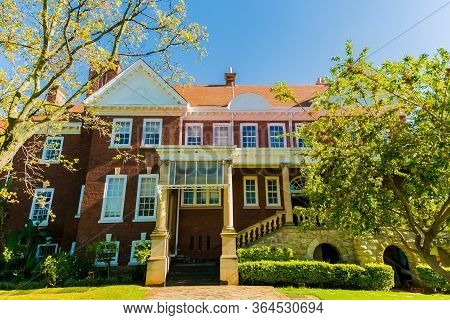 Johannesburg, South Africa - March 9, 2018: Upmarket Wealthy Suburban Mansion House With Landscaped