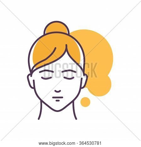 Human Feeling Patience Line Color Icon. Face Of A Young Girl Depicting Emotion Sketch Element. Cute