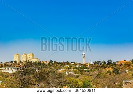 Johannesburg, South Africa - August 15, 2018: View Of Johannesburg Central Business District Buildin
