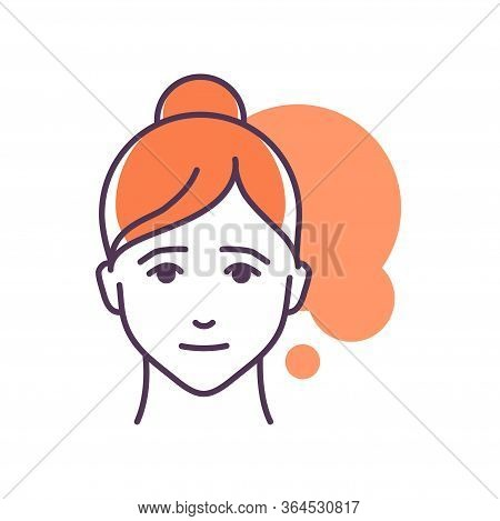 Human Feeling Pity Line Color Icon. Face Of A Young Girl Depicting Emotion Sketch Element. Cute Char