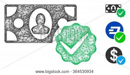 Mesh Paid In Full Polygonal Web Icon Vector Illustration. Abstraction Is Based On Paid In Full Flat