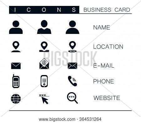 Set Of Modern Vector Business Icons Isolated On White Background. Symbol Of Location, Mail, Phone, W
