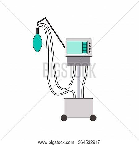 Medical Ventilator Line Icon. Color Mechanical Ventilation Lungs Machine Isolated On White Backgroun