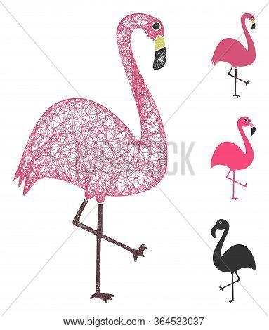Mesh Flamingo Bird Polygonal Web Icon Vector Illustration. Carcass Model Is Based On Flamingo Bird F