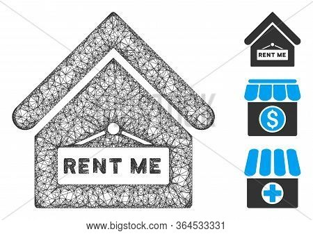 Mesh Rent Me Polygonal Web 2d Vector Illustration. Carcass Model Is Based On Rent Me Flat Icon. Tria