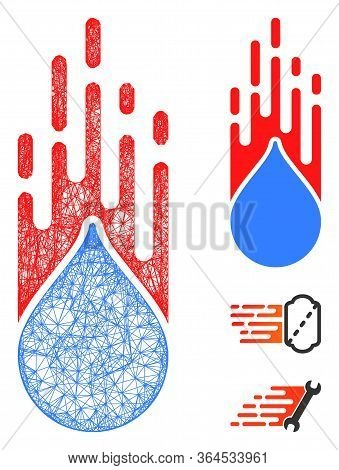 Mesh Rush Drop Polygonal Web Icon Vector Illustration. Carcass Model Is Based On Rush Drop Flat Icon