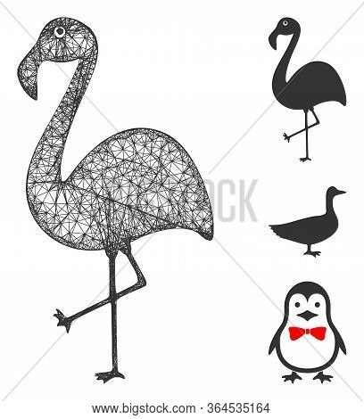 Mesh Flamingo Polygonal Web 2d Vector Illustration. Carcass Model Is Created From Flamingo Flat Icon