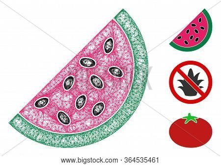 Mesh Watermelon Piece Polygonal Web Icon Vector Illustration. Carcass Model Is Based On Watermelon P