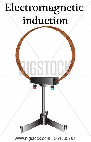 Coil Of Copper Conductor On A Stand, For Studying The Properties Of Induction Current In Physics Les