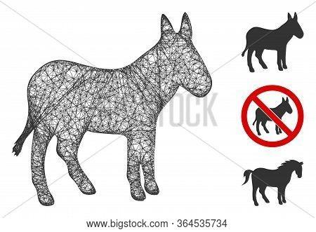 Mesh Donkey Polygonal Web Icon Vector Illustration. Model Is Based On Donkey Flat Icon. Triangle Net