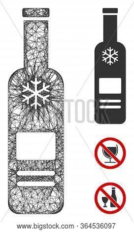 Mesh Cold Vodka Bottle Polygonal Web 2d Vector Illustration. Carcass Model Is Based On Cold Vodka Bo