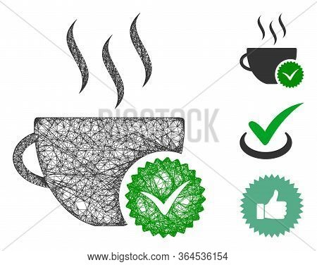 Mesh Best Coffee Polygonal Web Icon Vector Illustration. Model Is Based On Best Coffee Flat Icon. Tr