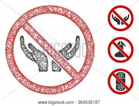 Mesh No Care Hands Polygonal Web 2d Vector Illustration. Carcass Model Is Based On No Care Hands Fla