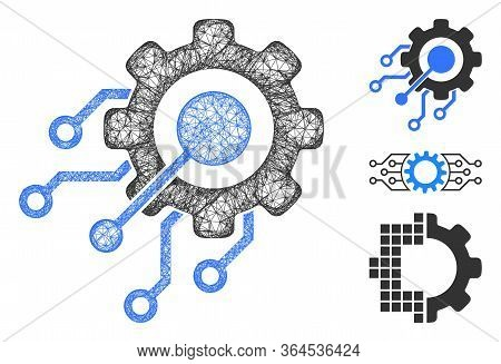 Mesh Digital Integration Gear Polygonal Web 2d Vector Illustration. Model Is Based On Digital Integr