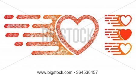 Mesh Rush Love Heart Polygonal Web Icon Vector Illustration. Carcass Model Is Based On Rush Love Hea